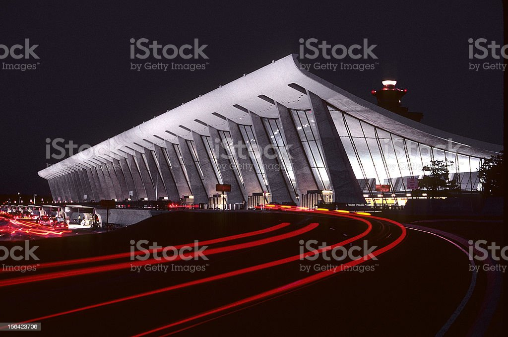 Dulles International Airport at night stock photo