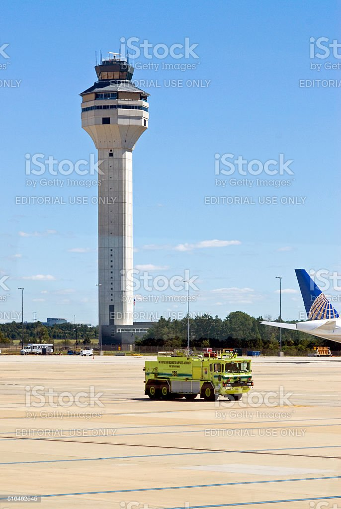 Dulles International Airport Control Tower and Fire Truck stock photo