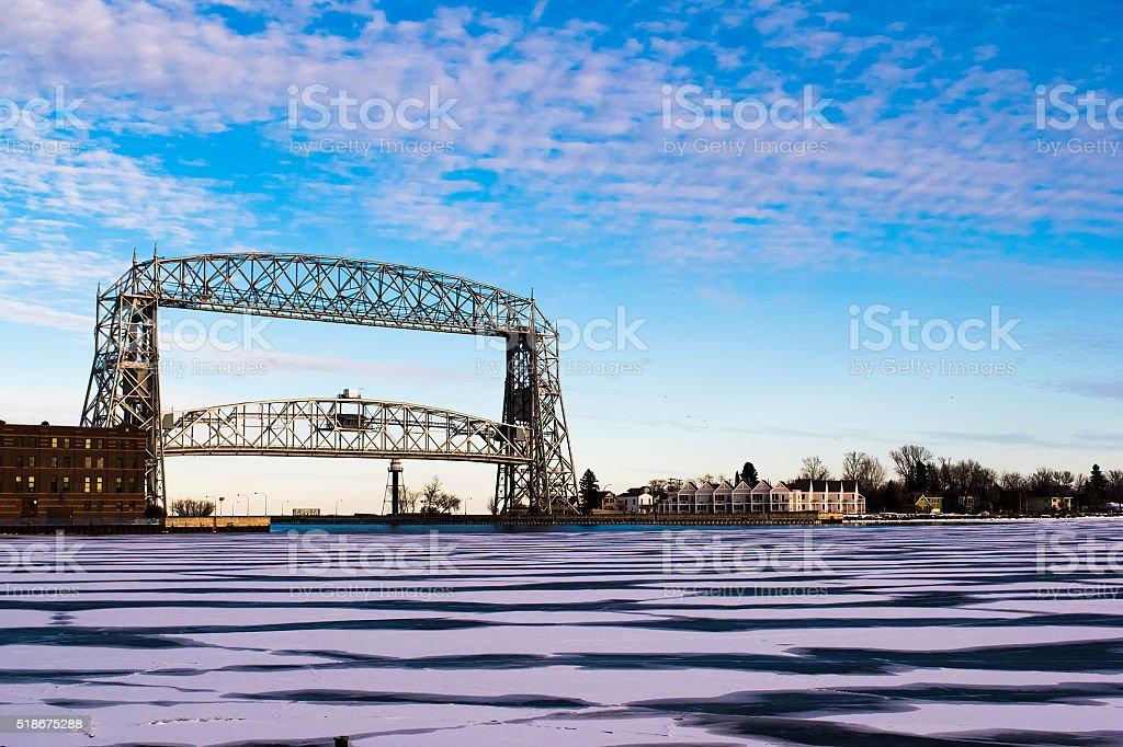 Duluth Aerial Lift Bridge and Ice stock photo