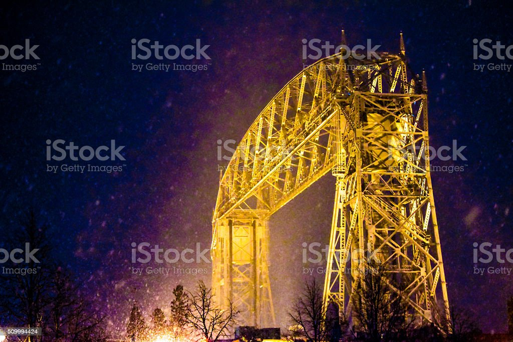 Duluth Aerial Lift Bridge at night from Canal Park stock photo