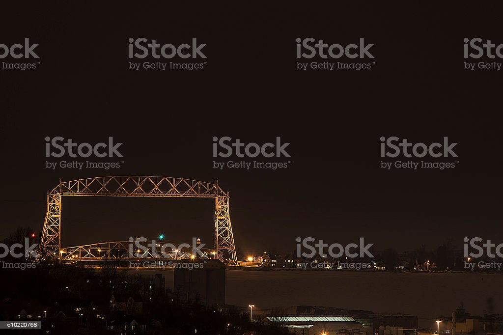 Duluth Aerial Lift Bridge at night in Winter royalty-free stock photo