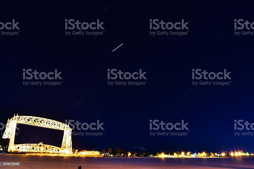 Duluth Aerial lift bridge star trails royalty-free stock photo