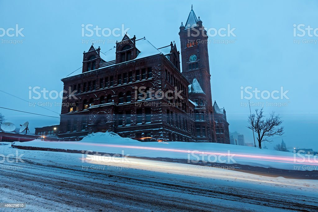 Duluth architecture during snow storm stock photo