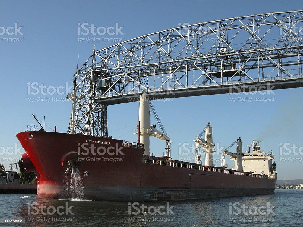 Duluth Lift Bridge and ship stock photo