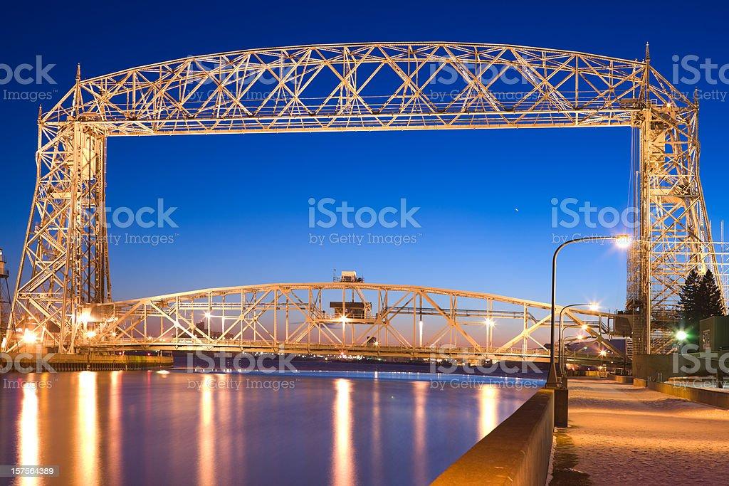 Duluth lift bridge in Minnesota on Lake Superior. stock photo