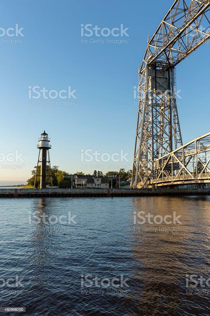 Duluth Lighthouse & Bridge stock photo