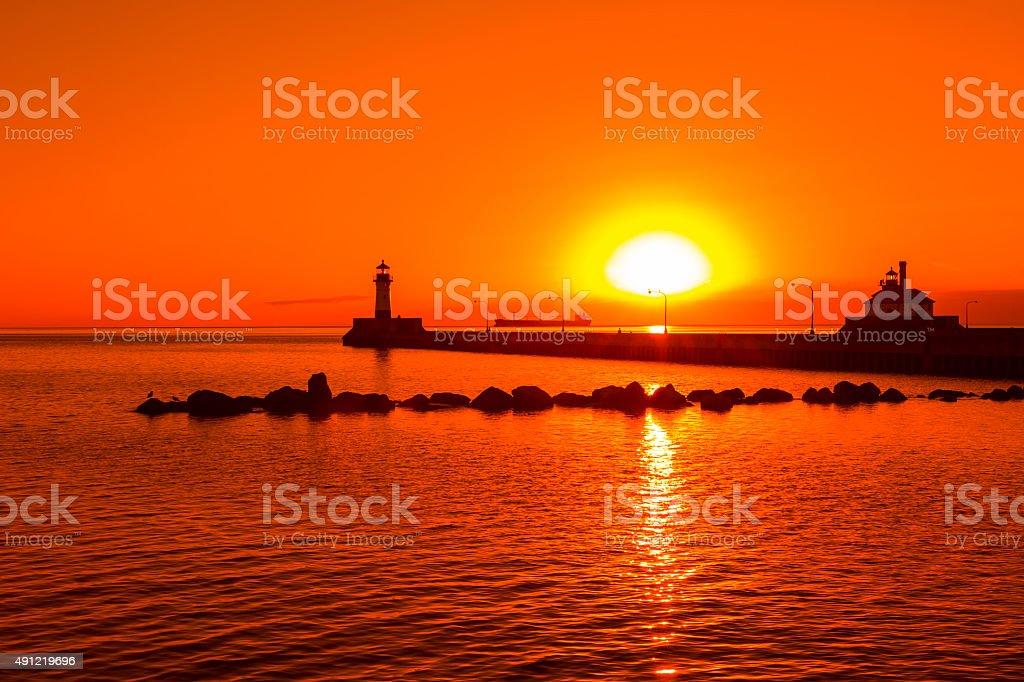 Duluth Lighthouses Sunrise stock photo