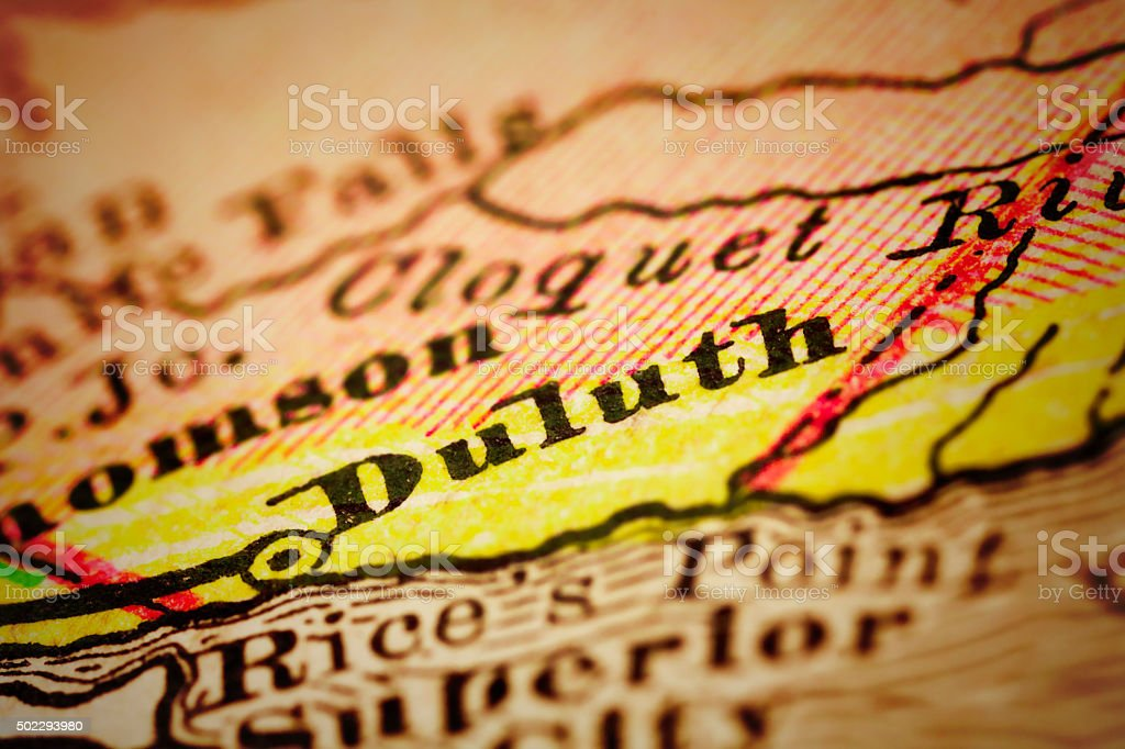 Duluth, Minnesota on an Antique map stock photo