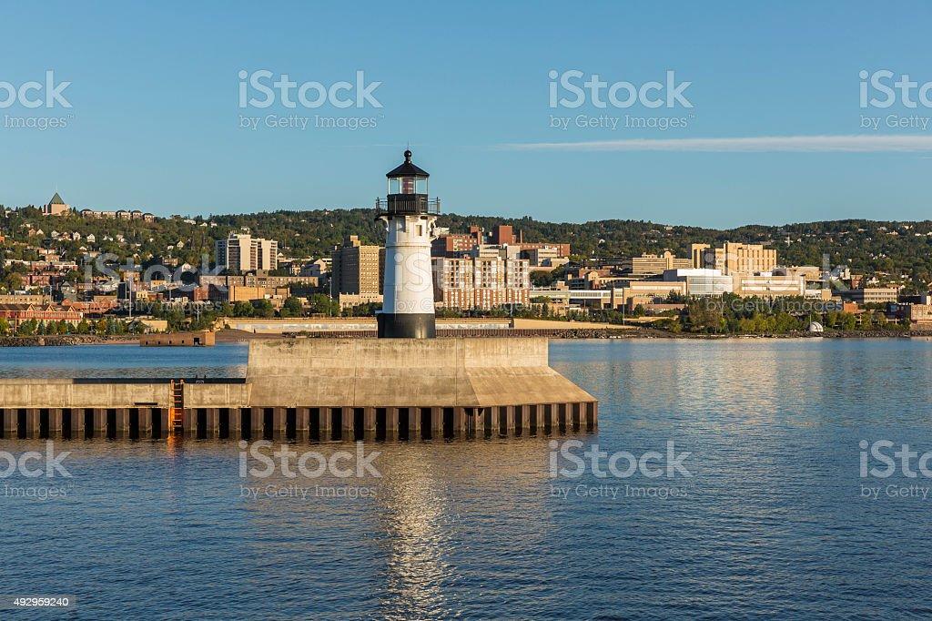 Duluth N Pier Lighthouse stock photo