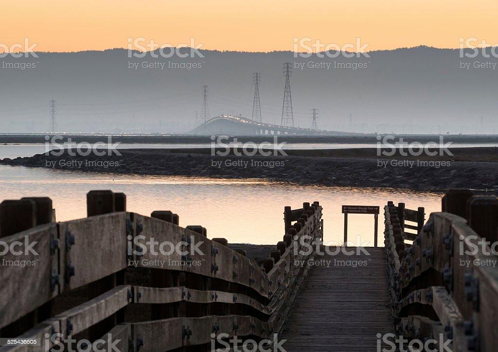 Dumbarton Bridge at Sunset stock photo