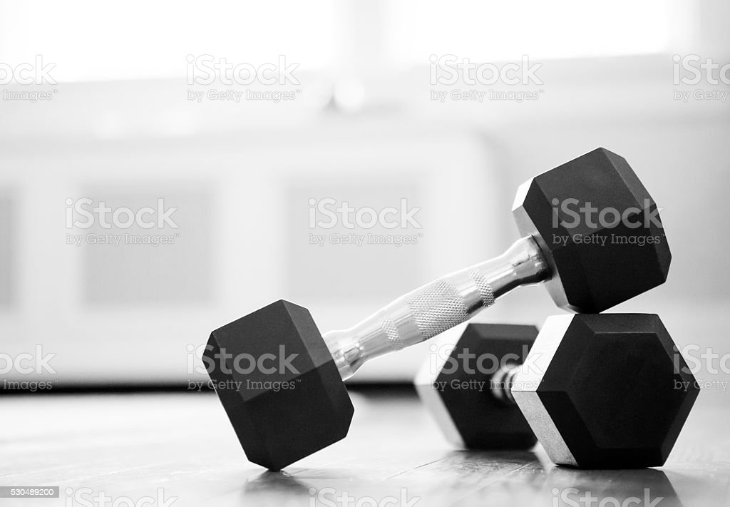dumbbell close-up stock photo