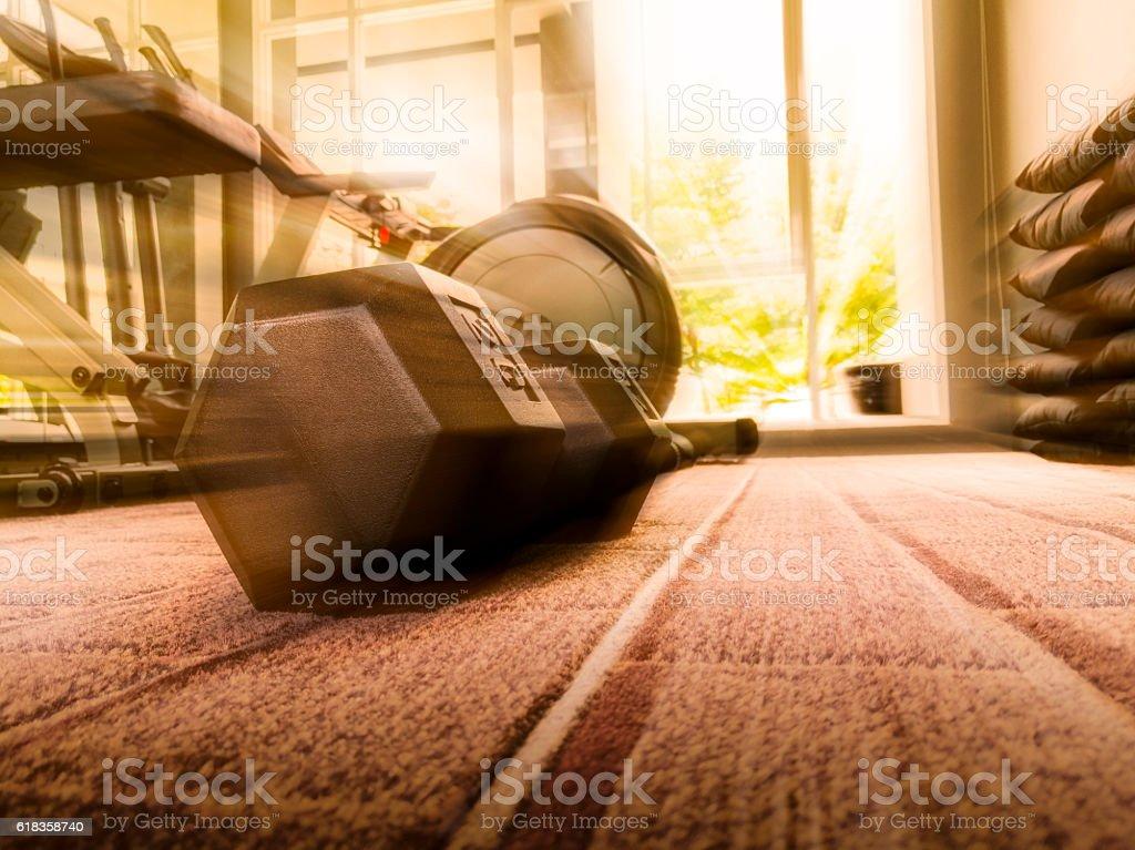 Dumbbell in Fitness Room stock photo