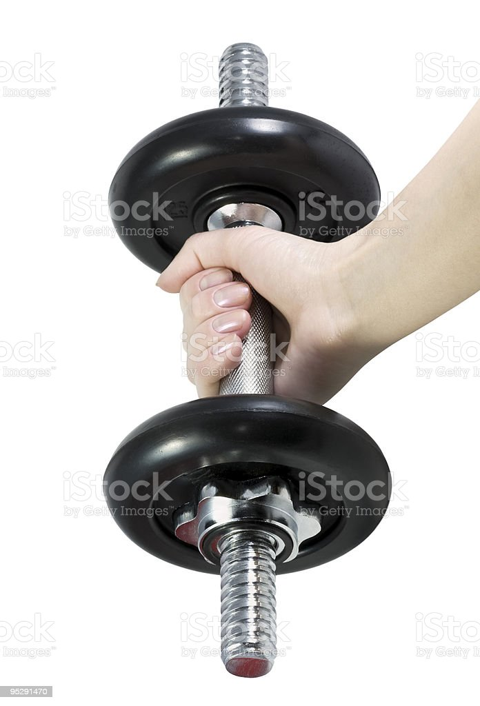 dumbbell in hand stock photo