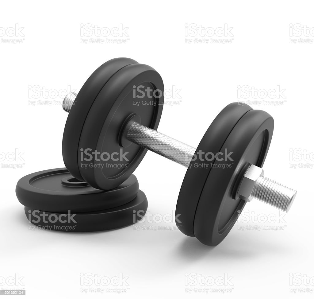 dumbbell isolated on white background with clipping path 3d rend stock photo
