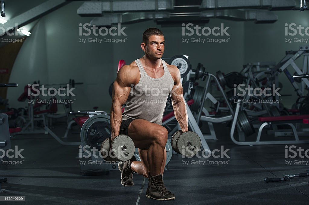 Dumbbell Lunges royalty-free stock photo