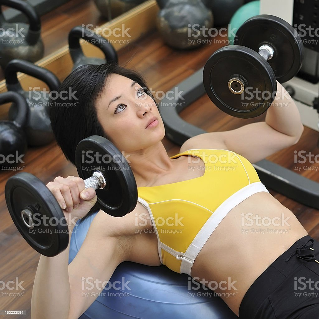 Dumbbell Press royalty-free stock photo
