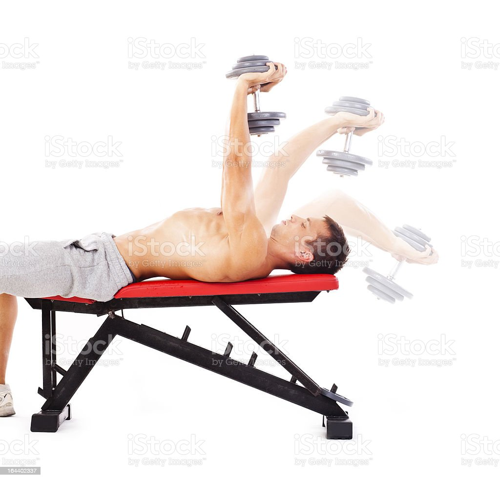 Dumbbell Pullover, steps royalty-free stock photo