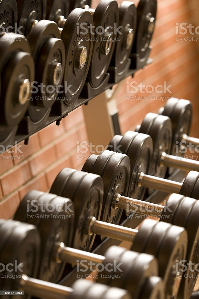 Dumbbell rack close up royalty-free stock photo