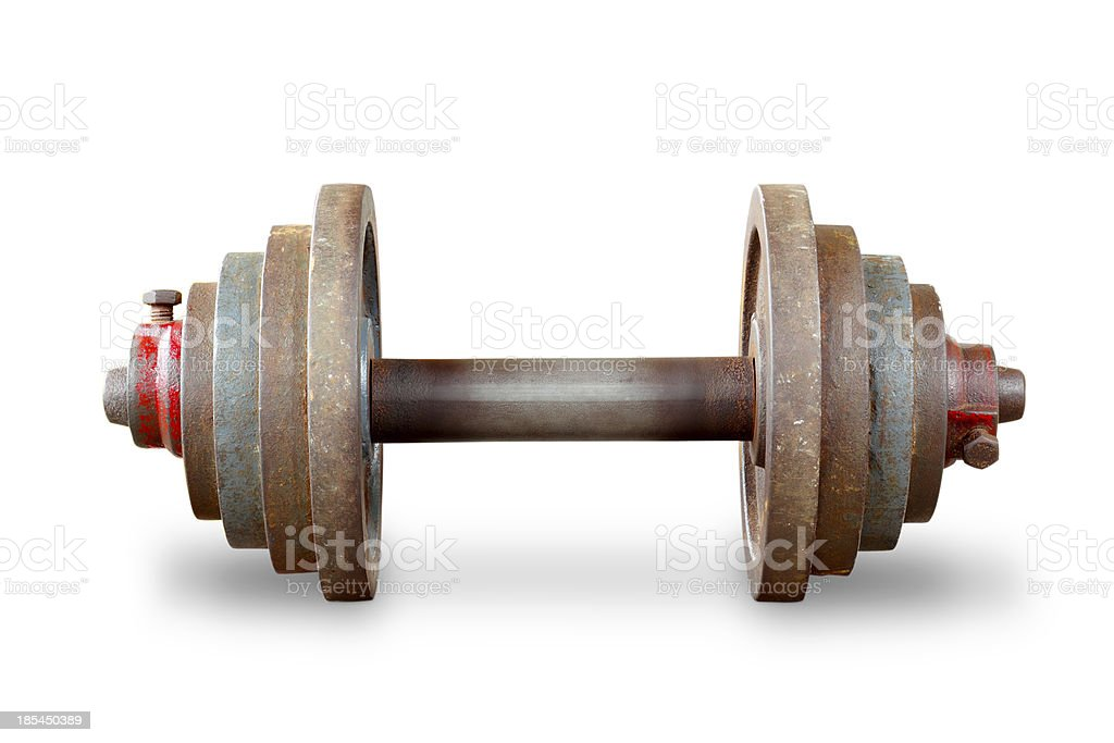 Dumbbell weights on white background royalty-free stock photo