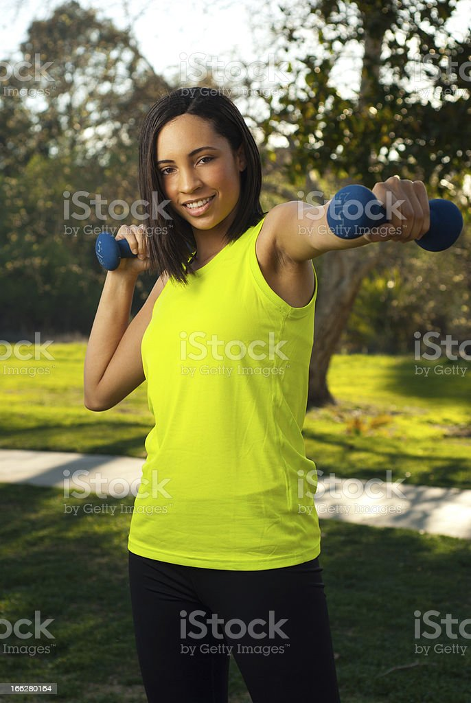 Dumbbell workout royalty-free stock photo