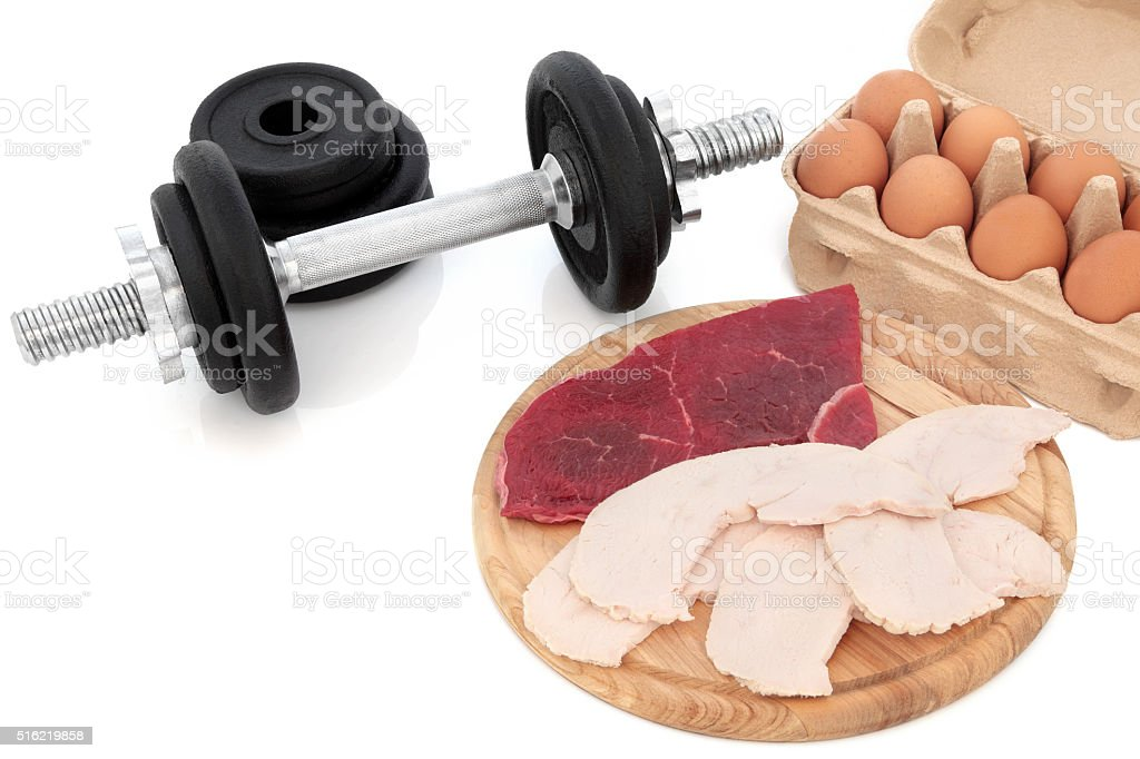 Dumbbells and Body Building Food stock photo