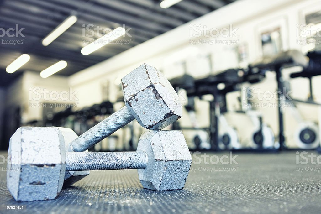 Dumbbells in Gym royalty-free stock photo