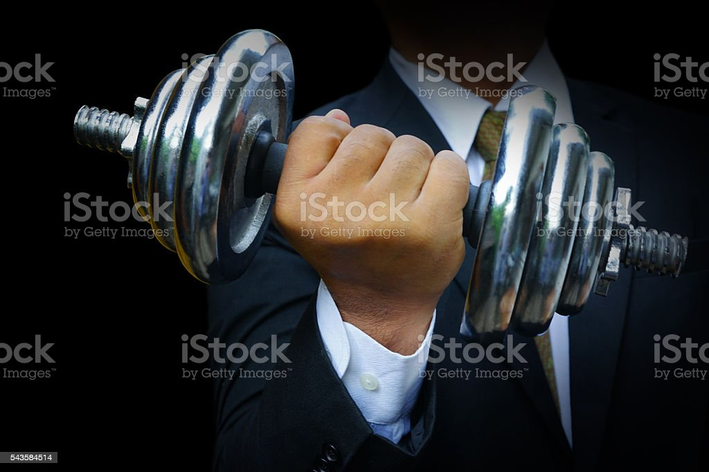 dumbbells made of cast iron stock photo