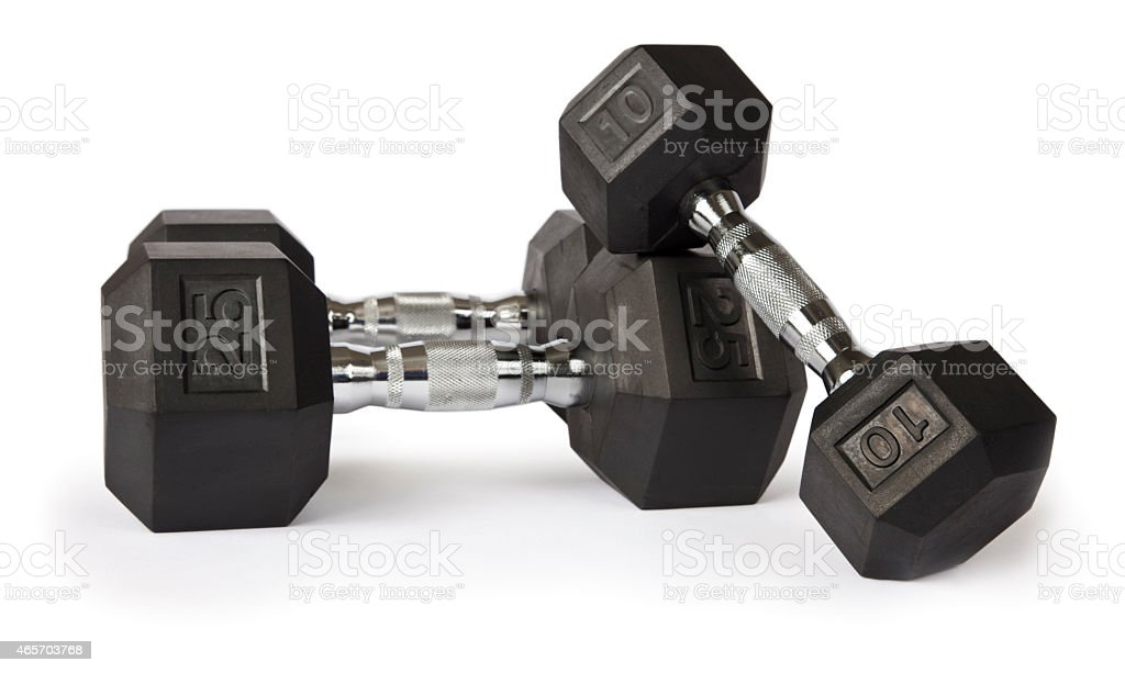 Dumbbells on white stock photo