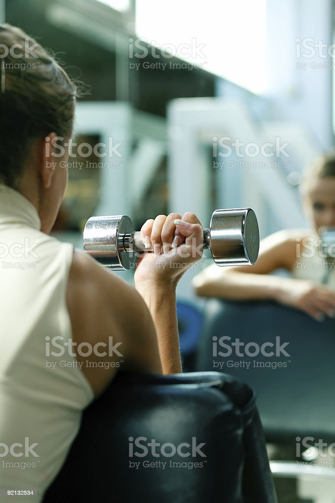 Dumbbells, training, mirror stock photo