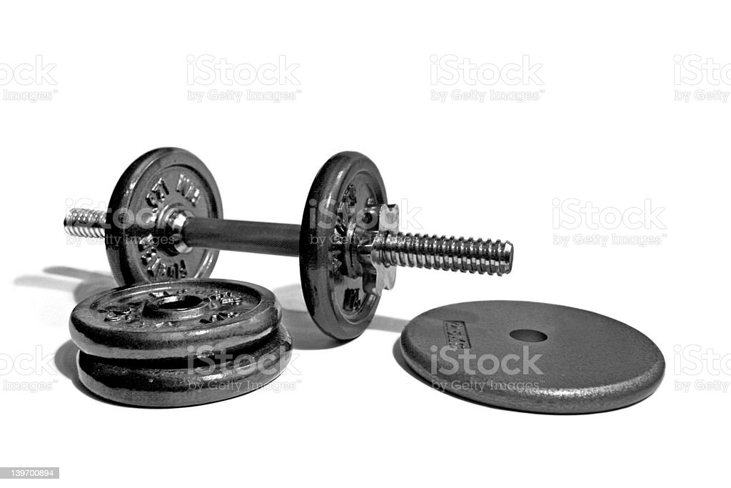 Dumbell and weights royalty-free stock photo