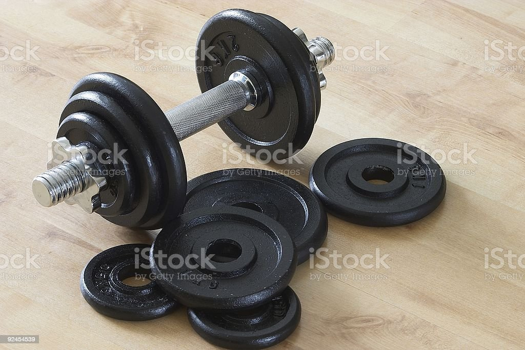 Dumbell  & weights stock photo