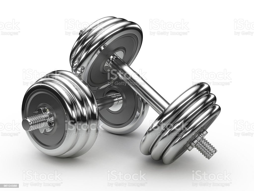 Dumbell weights stock photo