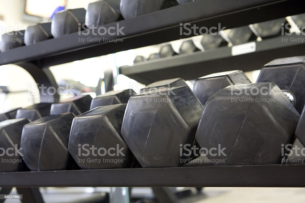 Dumbells in a Gym royalty-free stock photo