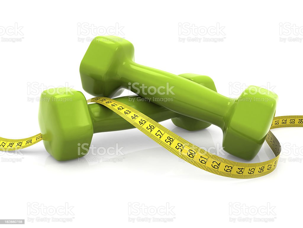Dumbells with measure (centimeters) royalty-free stock photo