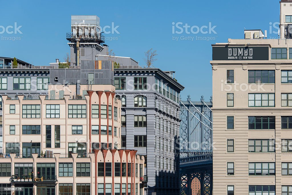 Dumbo in Brooklyn with section of the Manhattan bridge stock photo