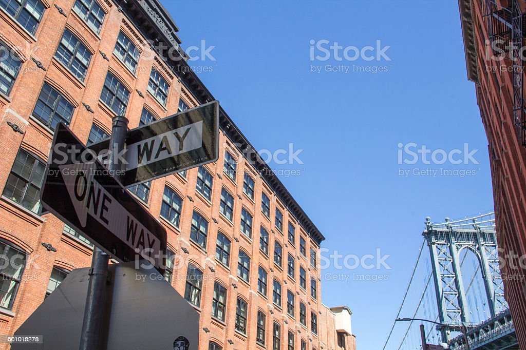 Dumbo Street and 'one way' traffics signs stock photo