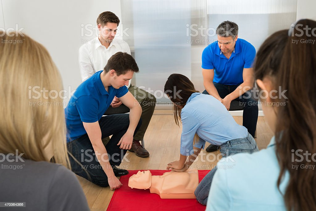 A CPR dummy being used in a first aid training class  stock photo