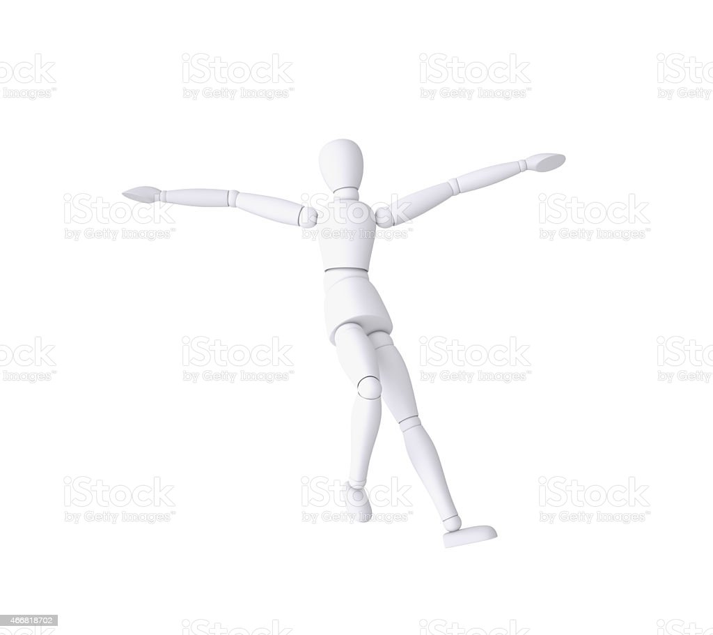 Dummy character falling down stock photo