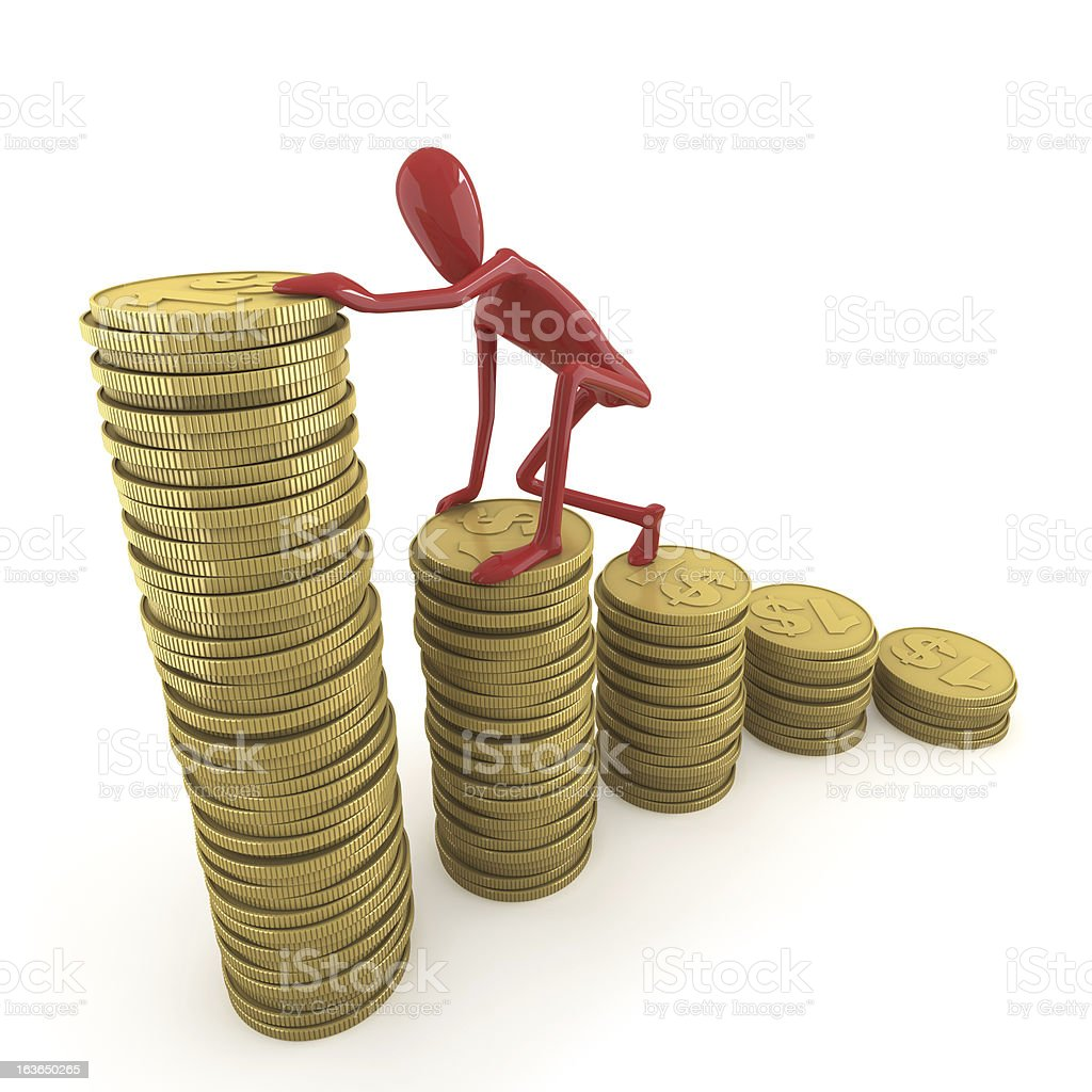 dummy climbing pile of coins royalty-free stock photo