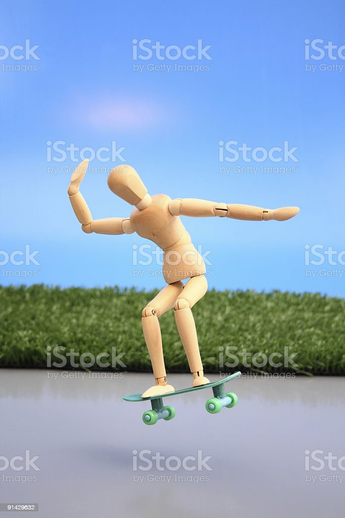 Dummy flying a skate royalty-free stock photo