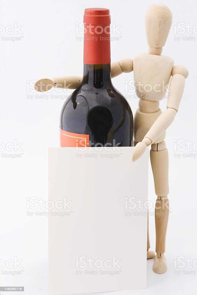 Dummy presents red wine bottle royalty-free stock photo