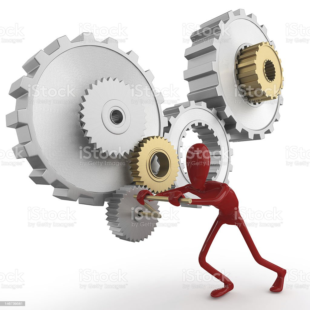 dummy pushing a gear stock photo
