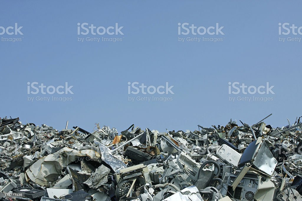 Dump full of old computers and gadgets stock photo