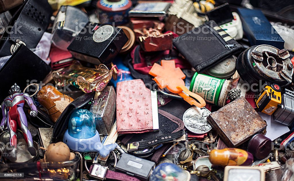Dump of old things, different stuff stock photo