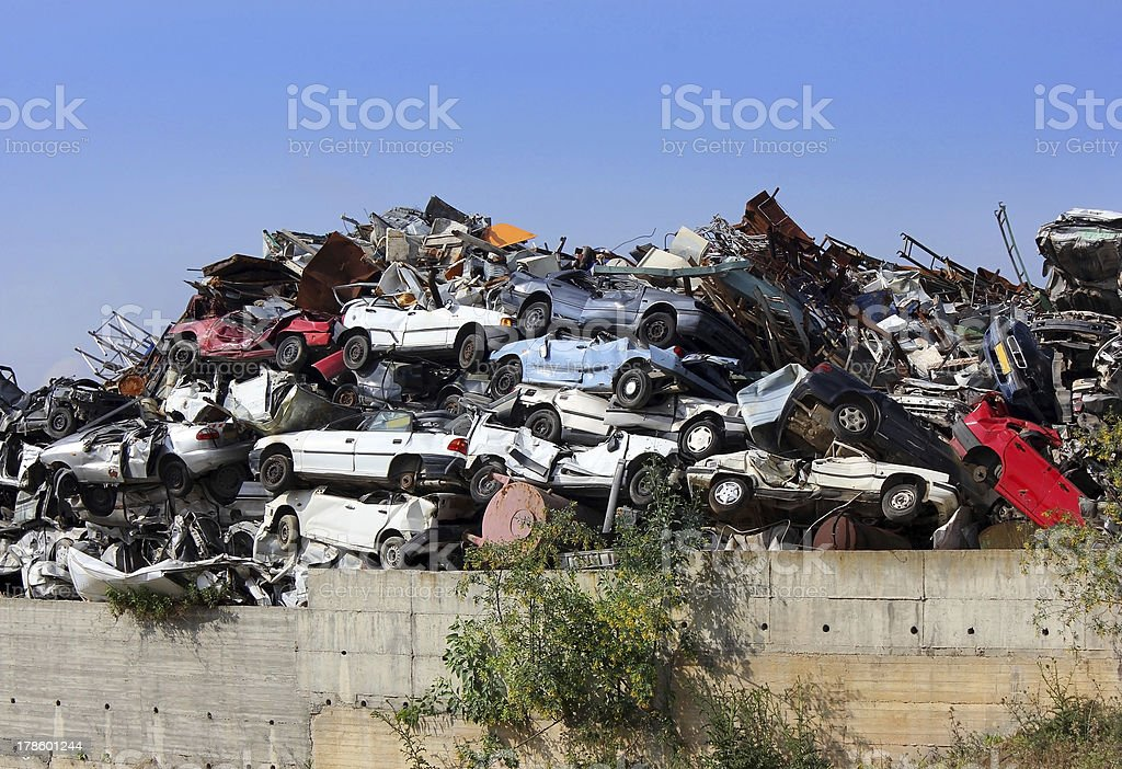 dump of wrecked cars royalty-free stock photo