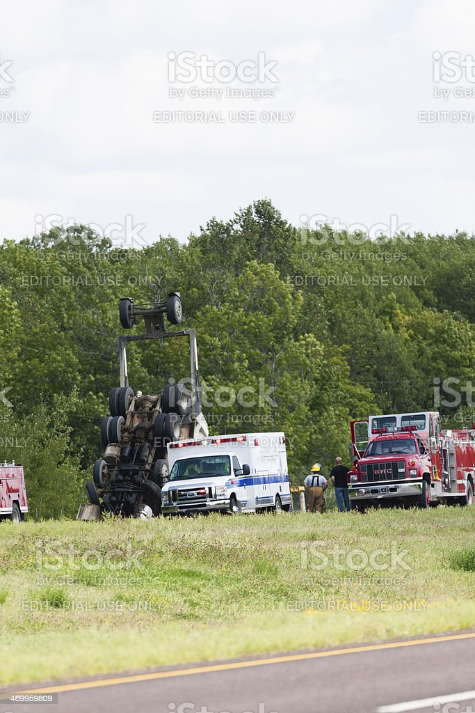 Dump Truck Accident stock photo