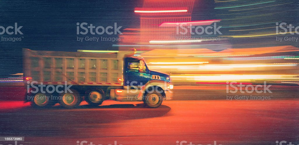 dump truck at night royalty-free stock photo