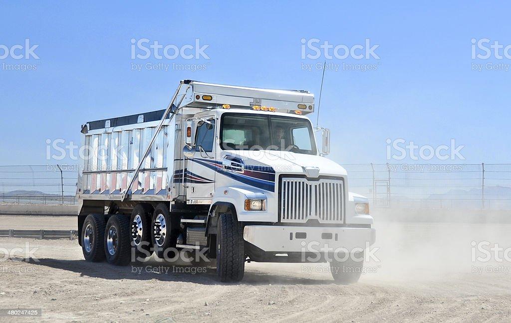 Dump truck at work stock photo