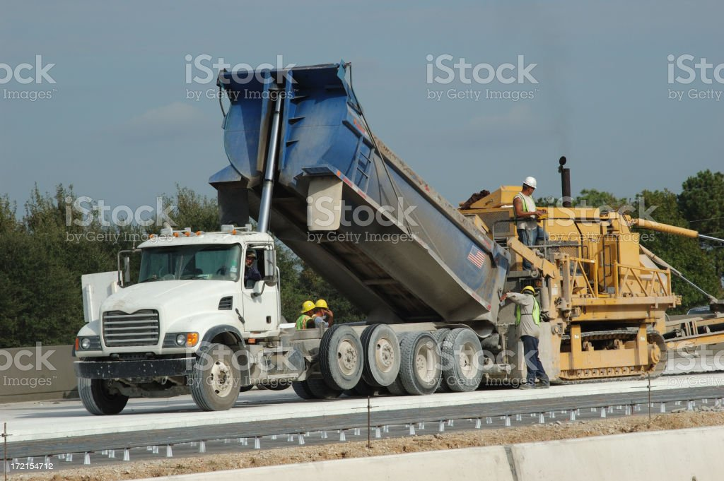 Dump Truck Dumping Cement Into Road Laying Construction Equipment royalty-free stock photo