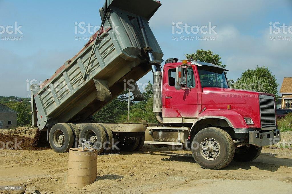 Dump truck dumping royalty-free stock photo